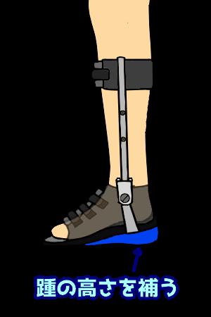 踵を補高した短下肢装具