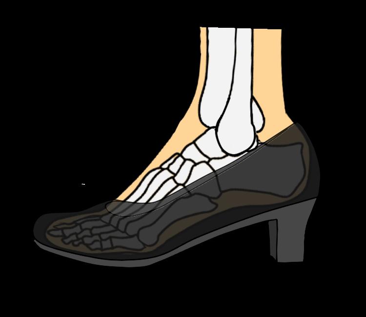 ヒールを履いた時の足