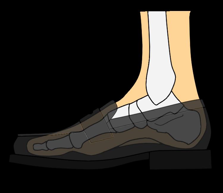 スニーカーを履いた時の足